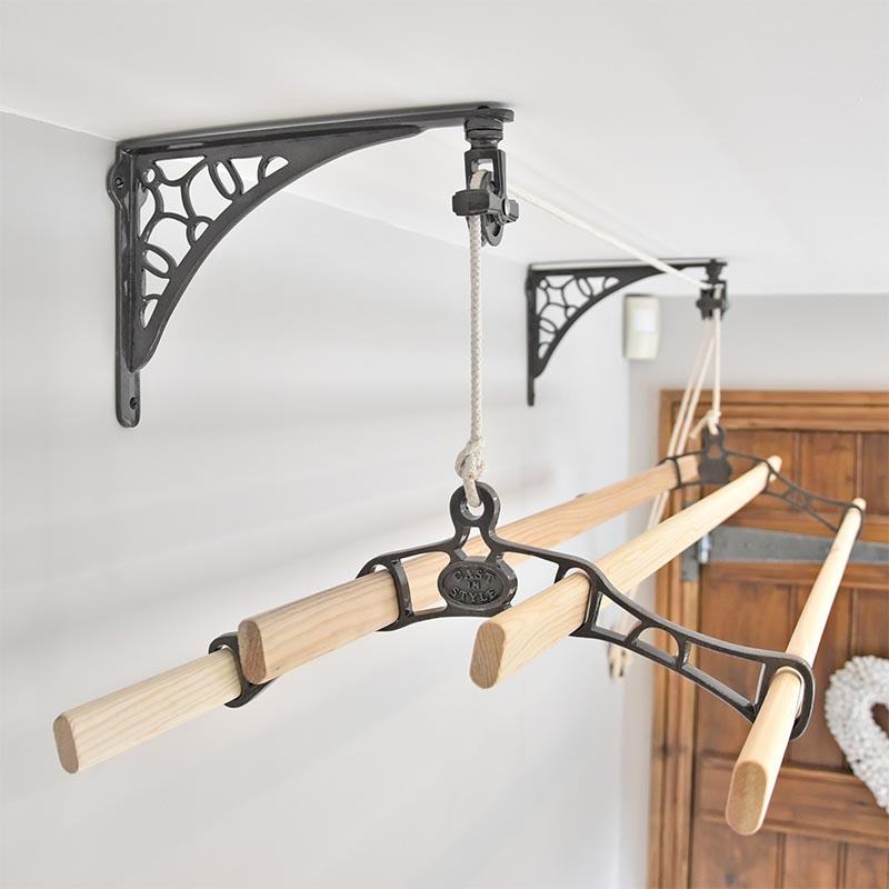 Six Lath Victorian Vintage Ceiling Pulley Maid Clothes Airer Kitchen Maid