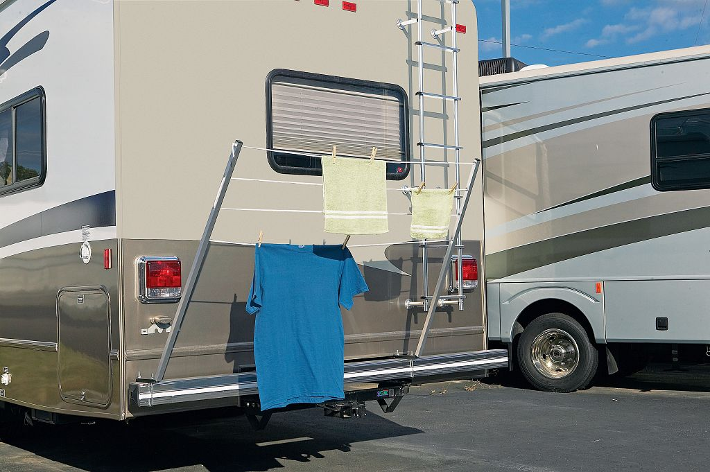 Folding Bumper Mounted RV Travel Clothesline | Clotheslines.com